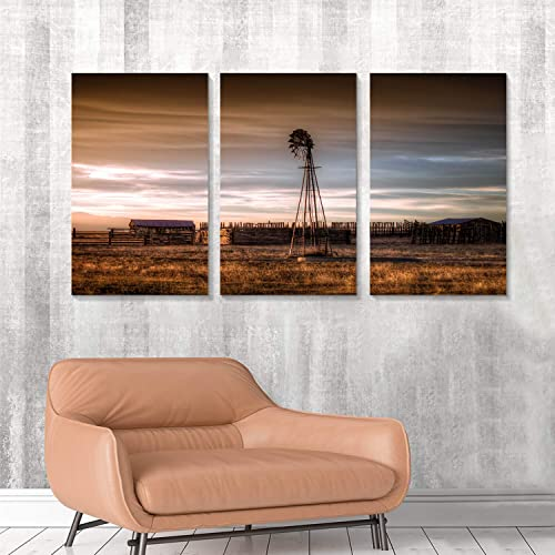 Hardy Gallery Windmill Artwork Rustic Landscape Picture: Farmhouse Painting Wall Art Print on Canva