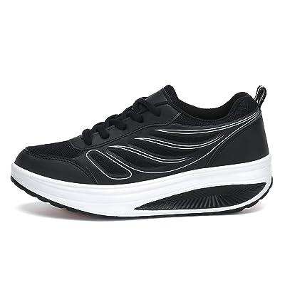 SAGUARO Platform Toning Rocker Shoes Womens Tennis Sneakers Wedges Thick Sole for Walking | Walking