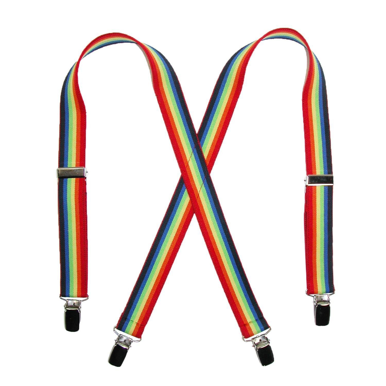 CTM Kids' Elastic 1 Inch Wide Clip-End Rainbow Stripe Braces SF-260N30RERA-MUL