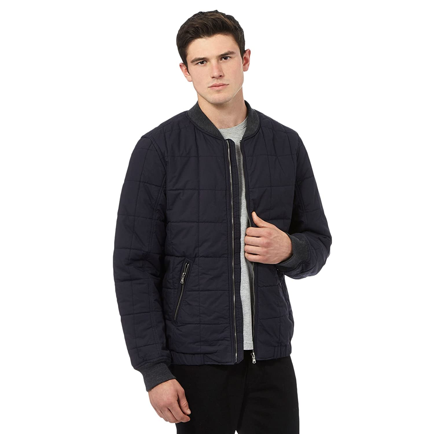 Red Herring Mens Navy Quilted Cotton Bomber Jacket