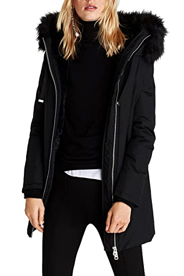 5b8a9fa7aa6e VILIER New Womens Ladies Quilted Winter Coat Fur Collar Hooded ...