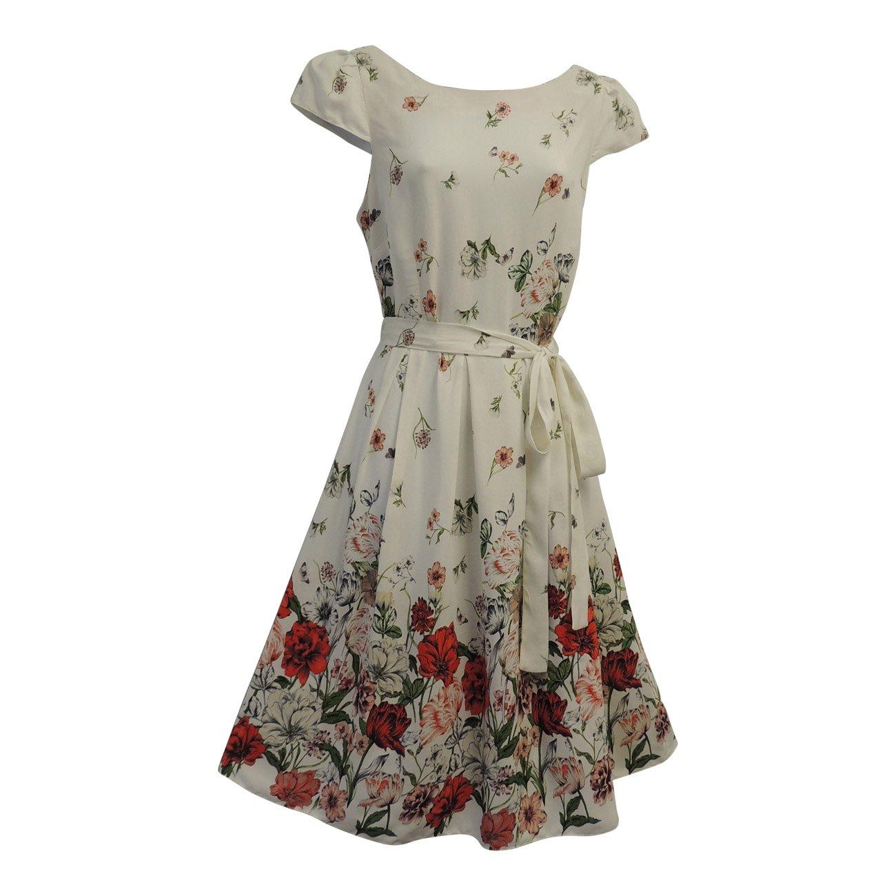 36c4cb3c626f39 New White Floral WWII 1930's/1940's VTG Style Land Girl Swing Tea Dress: Rosa  Rosa: Amazon.co.uk: Clothing