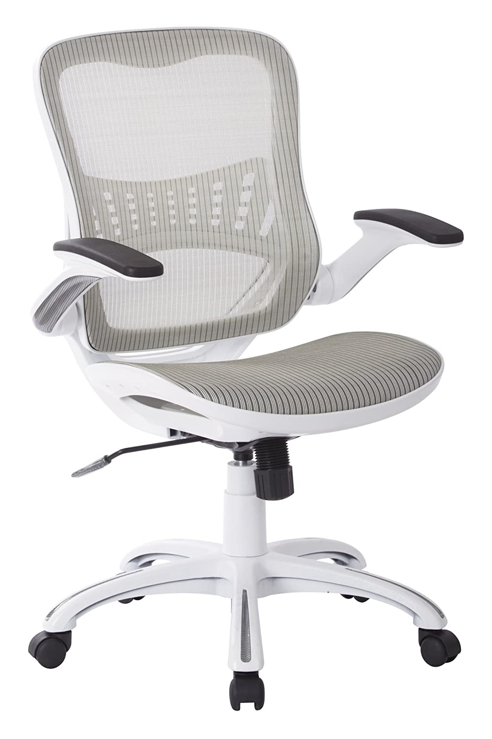 Office Star Mesh Back & Seat, 2-to-1 Synchro & Lumbar Support Managers Chair, White