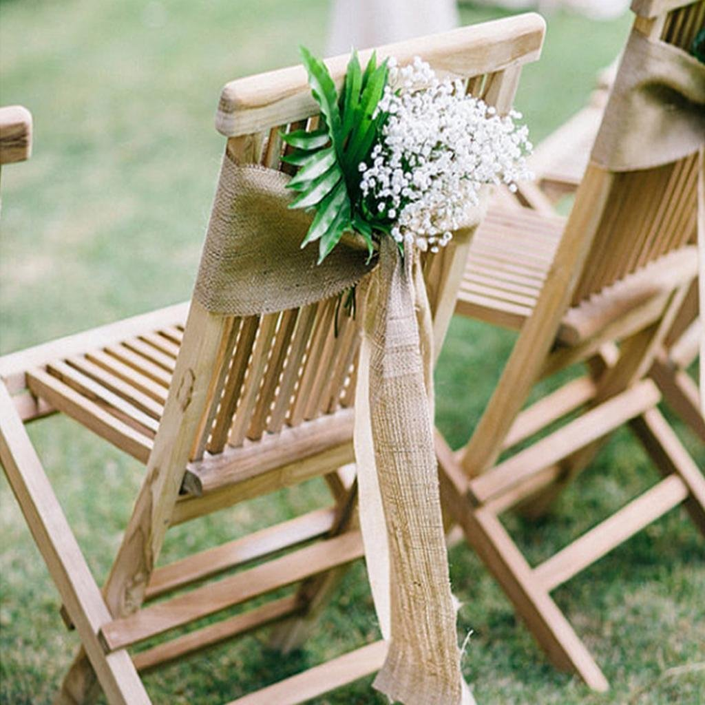 sarvam fashion SF_New Natural Burlap Jute Chair Bow Sashes for Wedding Party Decor 6.5'' X 108'' Pack of (1) by sarvam fashion (Image #3)