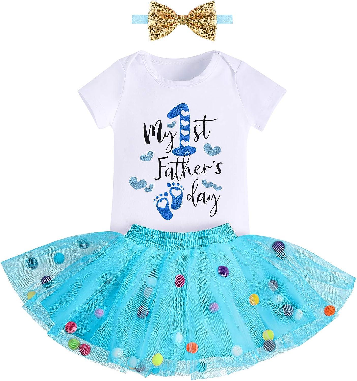 Baby Girls 1st Birthday Cake Smash 3pcs Outfits Set Cotton Romper Bodysuit+Tutu Dress+Flower Headband Princess Skirt Clothes