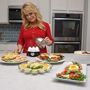 HOT STEAM Silver and Black Stainless Steel Steamer Egg Boiler Kitchen Set