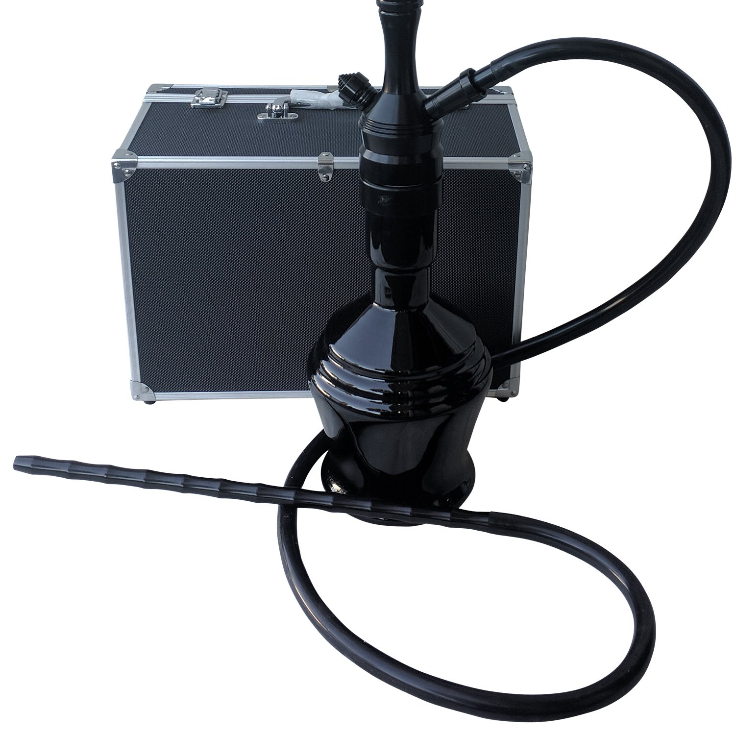 The 30'' Black Panther Aluminum Hookah Shisha With a Premium Carry Case & Silicone Hose
