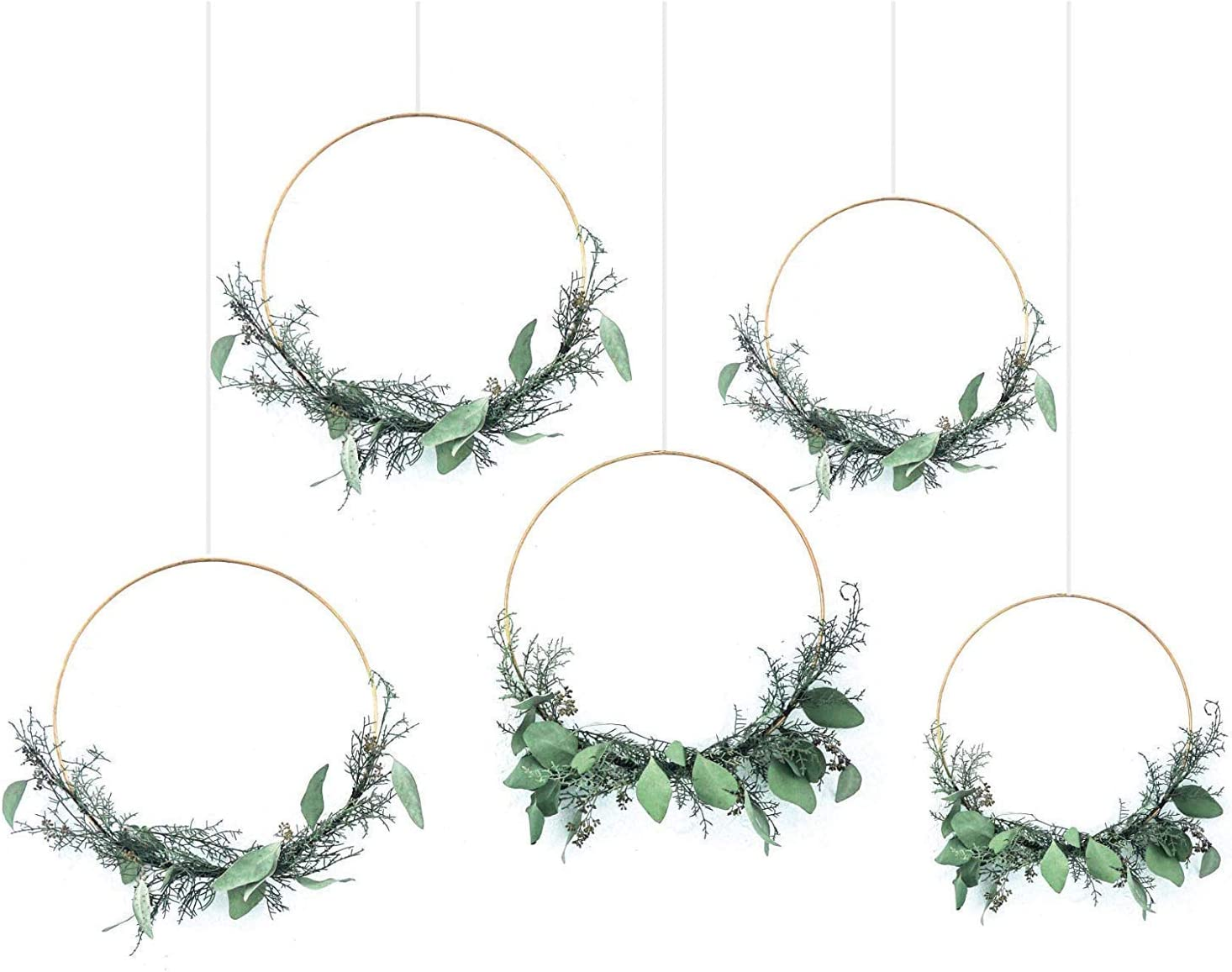 Fasdu 6pcs 14 inch Large Metal Floral Hoop Wreath Macrame Gold Hoop Rings for Making Wedding Wreath Decor and DIY Dream Catcher Crafts