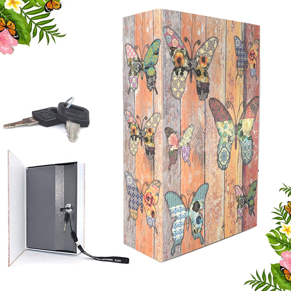 EIOU 9.5 x 6.3 x 2.3 inches & 1.4 pounds Book Safe with Key Lock, hidden safe,Metal Butterfly