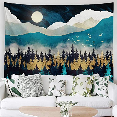 PROCIDA Forest Mountain Tapestry Moon Misty Forest Trees Blue Night Tapestry Sunset Birds Nature Landscape Art Wall Hanging for Men Bedroom College Dorm Decor with Nails 90 W x 71 L