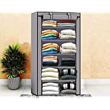 Sasimo Collapsible Wardrobe Organizer, Storage Rack for Kids and Women, Clothes Cabinet, Bedroom Organiser with 6 Layer_Navyblue & Grey(Wardrobe Organizer for Clothes) (Grey)