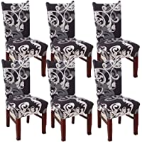 SUBCLUSTER 6 Pcs/Set Soft Stretchable Dining Chair Covers with Printed Floral Patterns,Spandex Banquet Chair Seat Protector Slipcovers for Holiday Home Party, Hotel, Wedding Ceremony