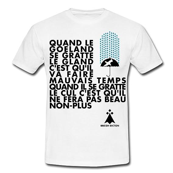 20baabe622554 Spreadshirt Proverbe Breton Quand Le Goéland T-Shirt Homme  Amazon.fr   Vêtements et accessoires