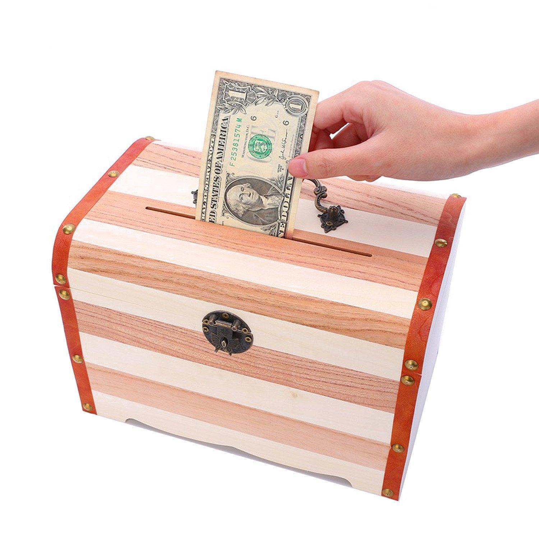 Willcomes Wooden Money Storage Box Treasure Chest Piggy Bank Handmade Jewelry Organizer With Lock and Two Keys