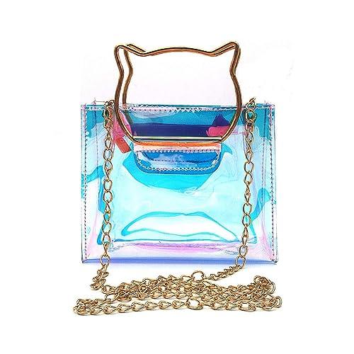 3b1fbb045958 Amazon.com  DREAMER Women Fashion Hologram Tote Bag with Cat Handle Jelly Chain  Shoulder Bag Mini Handbag Crossbody Purse for Girls  Shoes
