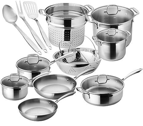 Amazon.com: Chefs Star - Juego de ollas y sartenes de acero ...
