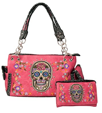 3248917c845f HW Collection Western Sugar Skull Roses Flowers Concealed Carry Handbag  Purse and Crossbody Wallet