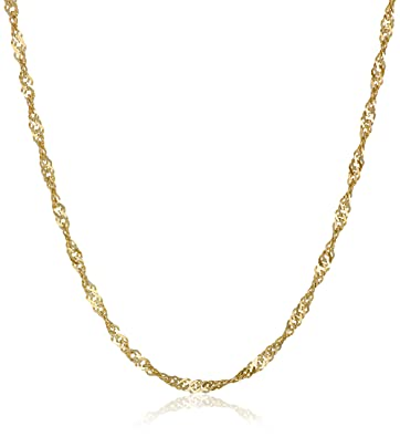766be631cc9 Amazon.com  10k Yellow Gold 1.35mm Solid Singapore Chain Necklace ...