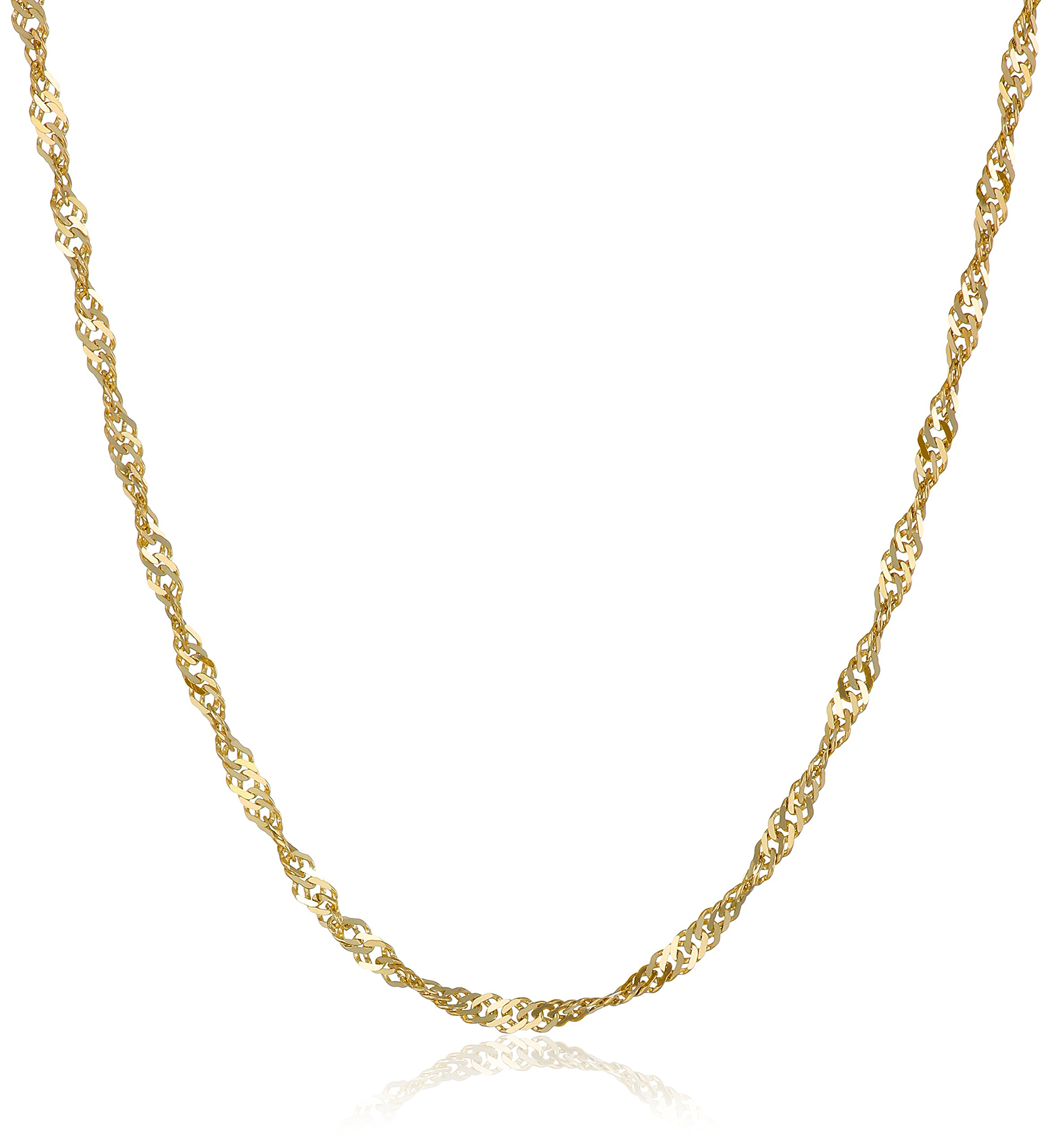 10k Yellow Gold 1.35mm Solid Singapore Chain Necklace, 22''