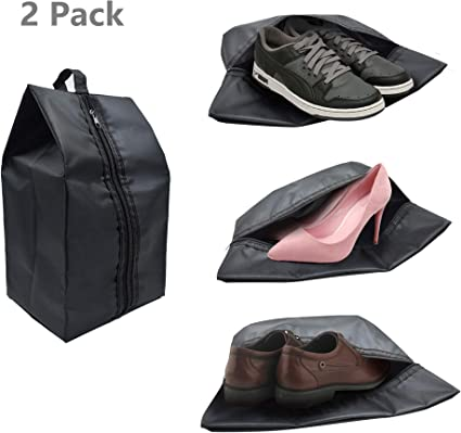 4pcs Black Portable Waterproof Shoe Storage Bags with Zipper Closure for Traveling