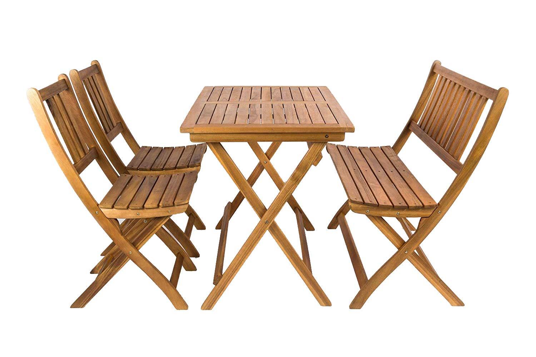 MSA Sam® Set da Giardino in Legno di Acacia, costituito da 4 Pezzi, 1 Tavolo + 2 sedie + 1 Panca, Mobile da Giardino Pieghevole, Certificato FSC® 100%