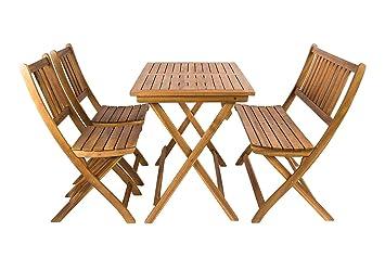 SAM® Salon de Jardin, Bois d\'Acacia, 4 unités, 1 Table + 2 chaises Pliantes  + 1 Banc, Meuble de Jardin, certifié FSC® 100%
