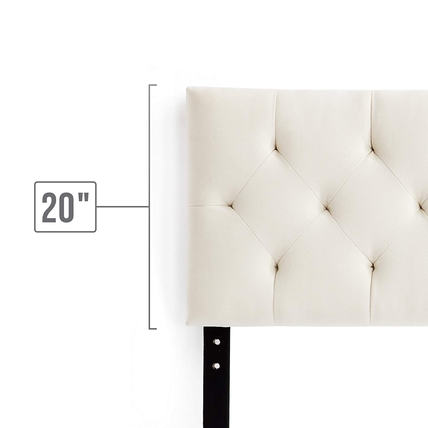 """Adjustable Height from 34/"""" to 46/"""" Stone LUCID Mid-Rise Upholstered Headboard Queen"""