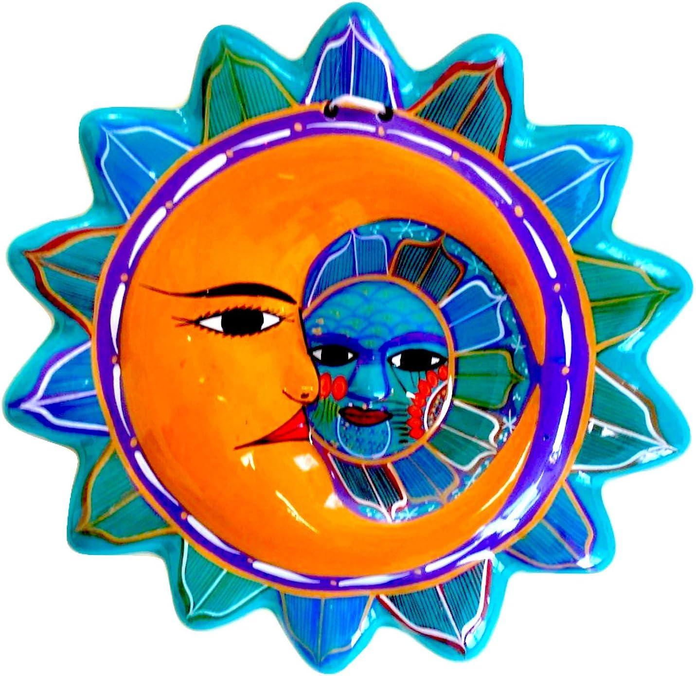 Casa Fiesta Designs Talavera Sun and Moon Face Decor - Ceramic Eclipse Mexican Home Decor - Hand Painted in Mexico - Wall Decoration - Eclipse