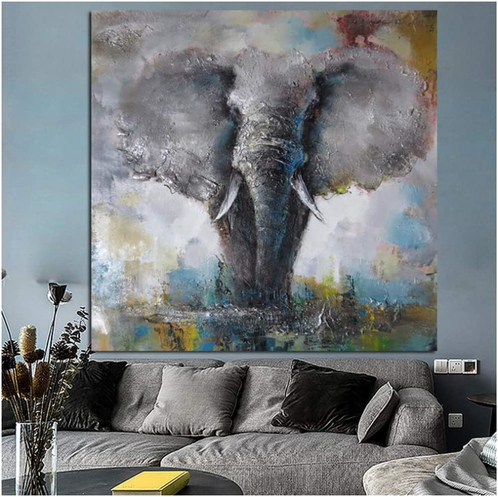 NIEMENGZHEN Print on canvas Elephant Pop Art Painting Print Watercolor Wild Animal Canvas Poster And Prints Wall Art Pictures Gift Home Decor 30x30cmx1PCS No Frame