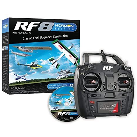 RealFlight RF8 Horizon Hobby Edition: RC Flight Simulator Software DVD with  Interlink-X Transmitter Mode 2, RFL1000