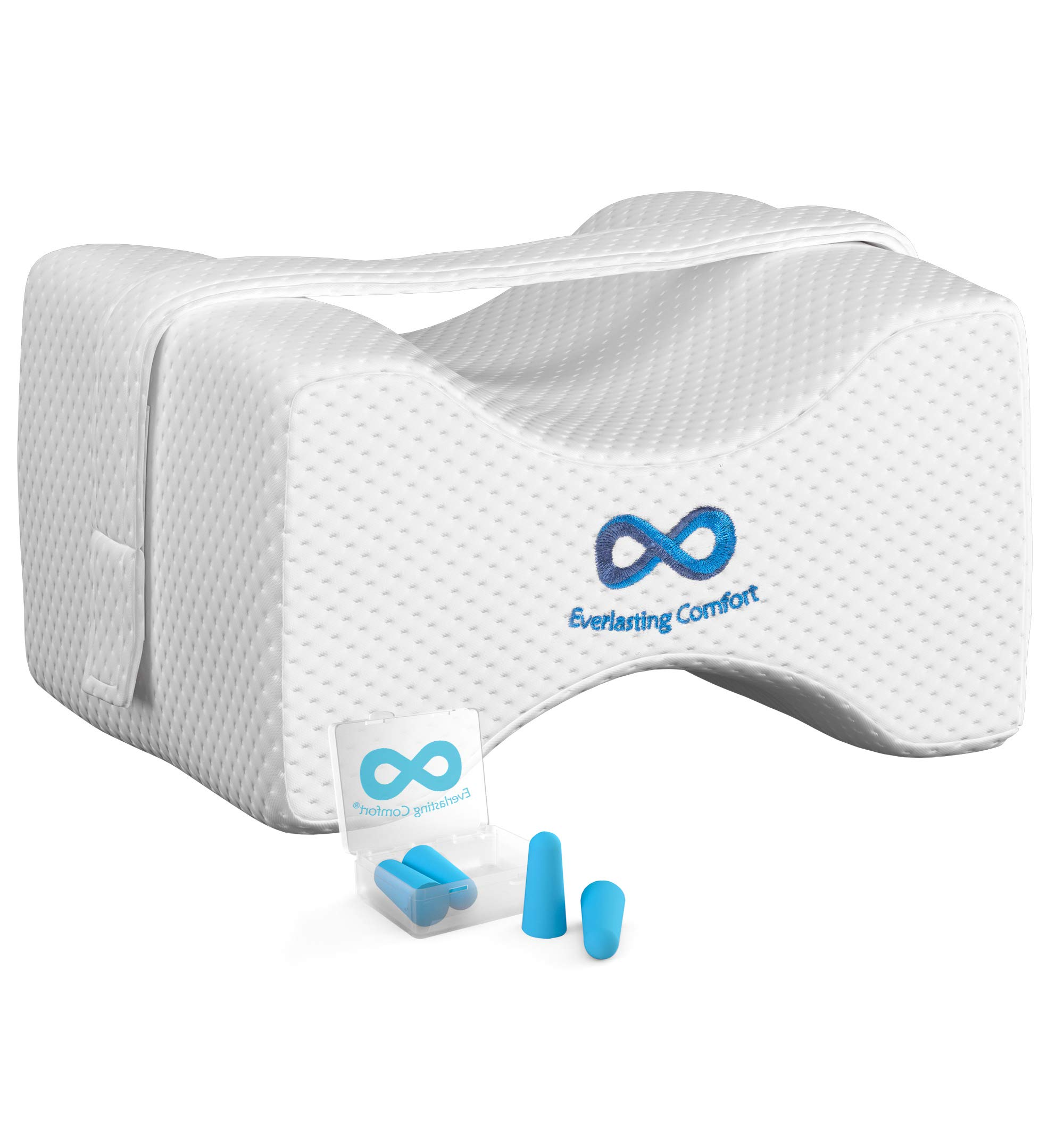 Everlasting Comfort 100% Pure Memory Foam Knee Pillow with Adjustable, Removable Strap and Ear Plugs - Leg Pillow for Sleeping by Everlasting Comfort