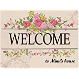 Mimi Gifts Welcome to Mimi's House Wooden Decorative Sign Home Decor Kitchen Sign Novelty Sign