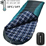 Bessport Sleeping Bag Winter | Flannel Lined | Compact and Lightweight 4 Season Sleeping Bag for Adults | 14℉/-10℃ Extreme | Perfect for Camping, Hiking, Backpacking (Grey&Blue)
