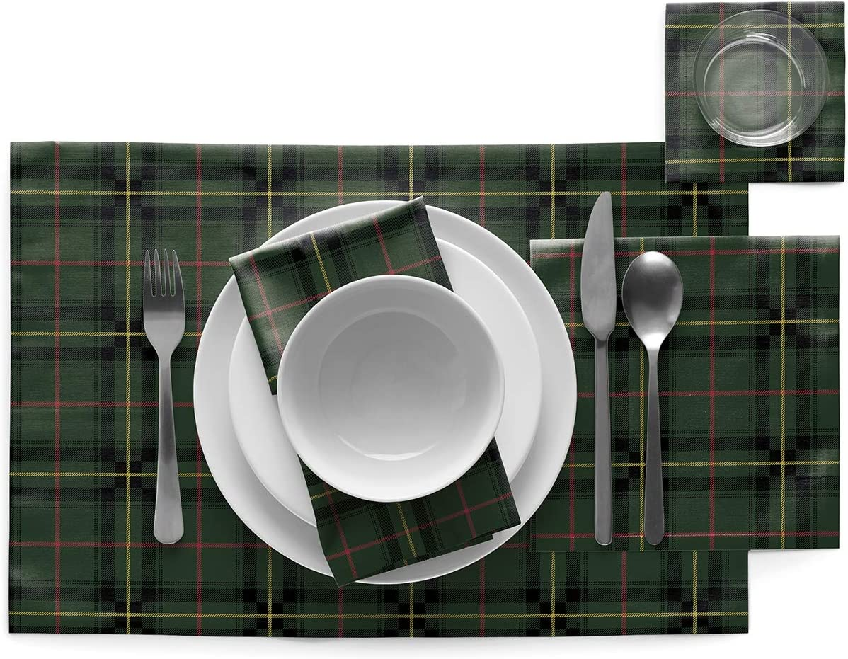 6 Servietten 5 cm MYdrap SA32N9//501-11 My Bettlaken Weihnachten 32 x 32 cm Gr/ün Baumwolle Motiv Green Tartan