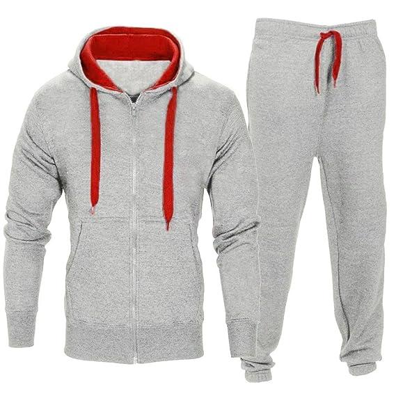 OHQ Pantalon à Capuche Slim Sweat pour Hommes Pantalons Chemise Extensibles  Manteau Veste Jogging Sports Survêtement Ensemble Gris Foncé Homme sans  Manche ... df43827e8ba1