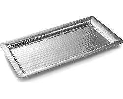 Monarch Abode Hand Hammered Tray Platter, 16 in x 8 in, Nickel