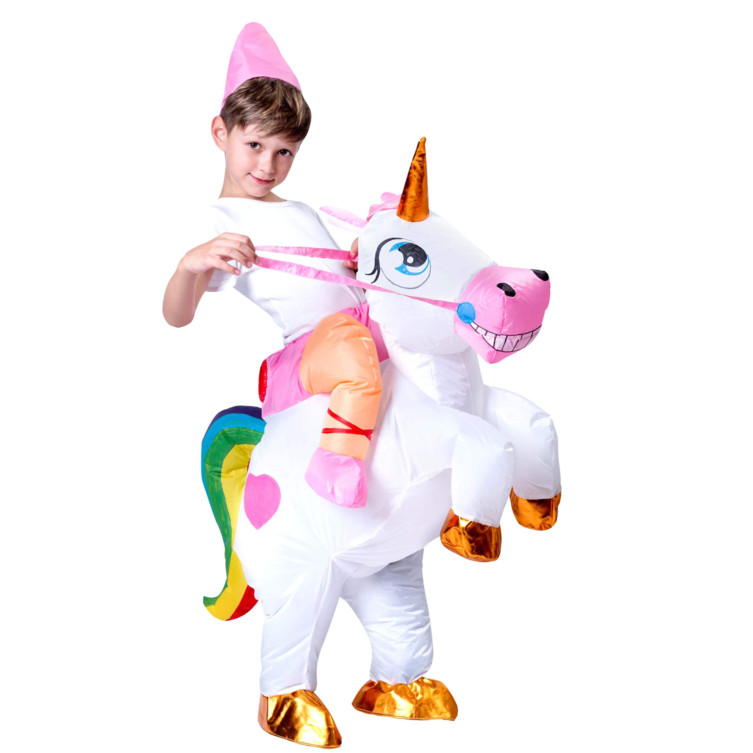 Spooktacular Creations Inflatable Riding a Unicorn Air Blow-up Deluxe Costume - Child One Size Fits 4-8yr (42''-51'' Height)