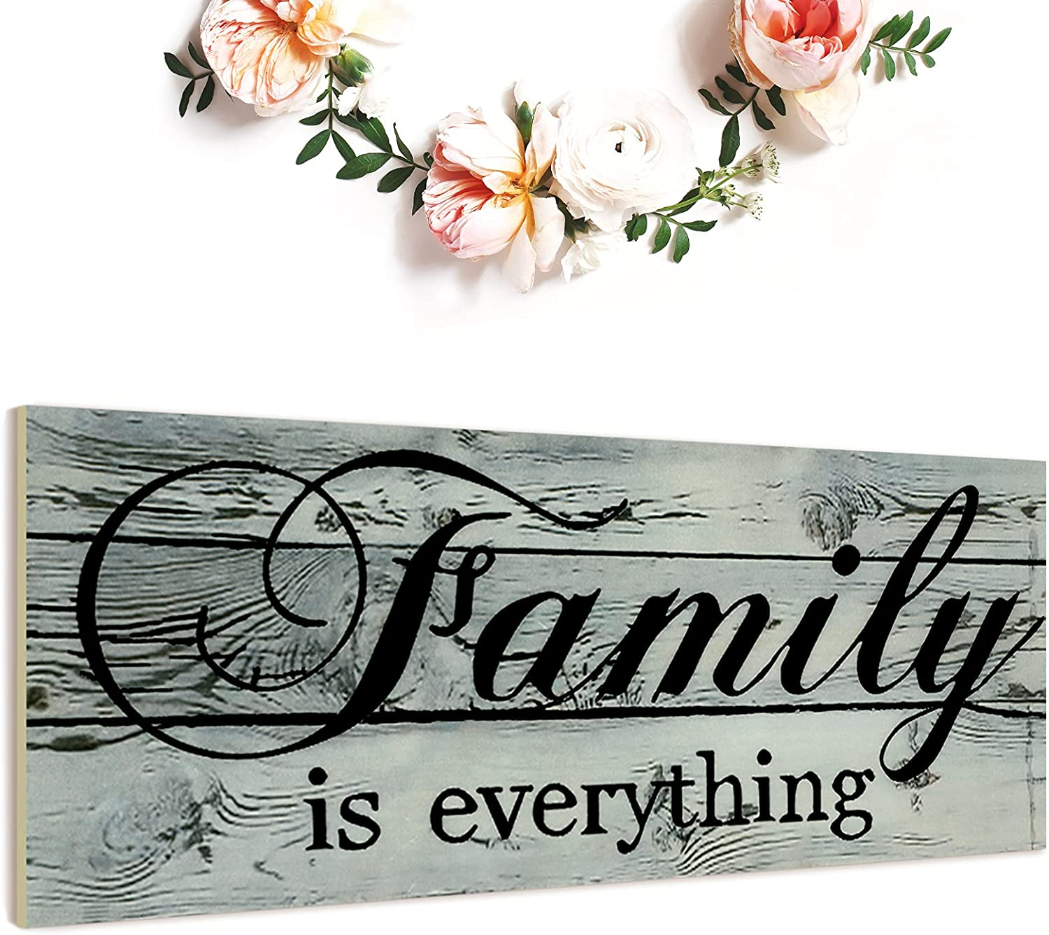 Jetec Family Prints Wood Signs Family is Everything Home Wall Decorations Wood Wall Decor Sign for Home Farmhouse Living Room Kitchen Dining Bedroom Bathroom (Blue-Gray)