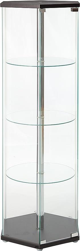 Coaster Hexagon Glass Curio Cabinet in Black