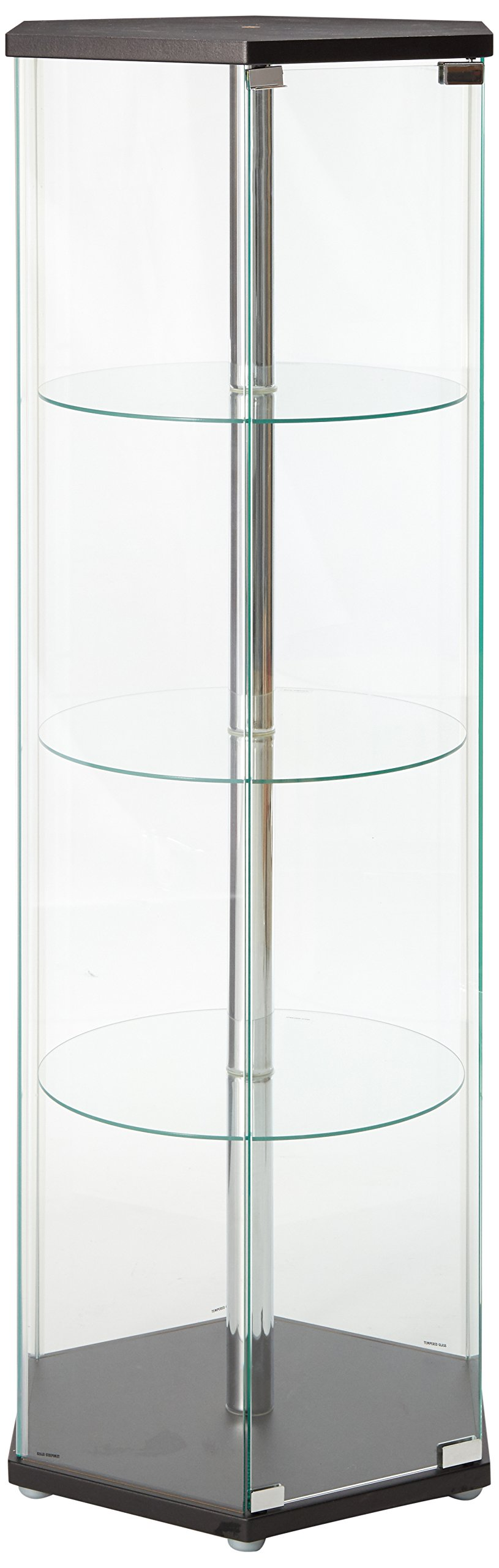 Hexagon Shaped Curio Cabinet Black and Clear by Coaster Home Furnishings
