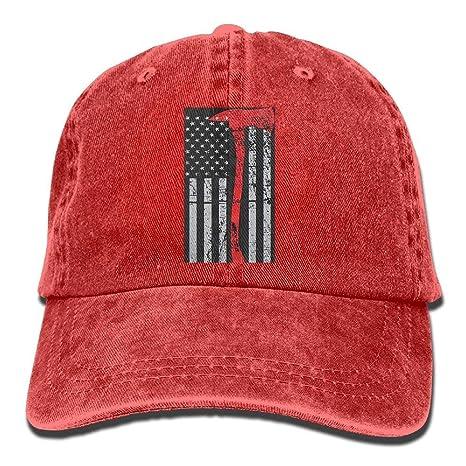 Wdskbg Bandera de los Estados Unidos Línea Roja Fina Unisex ...