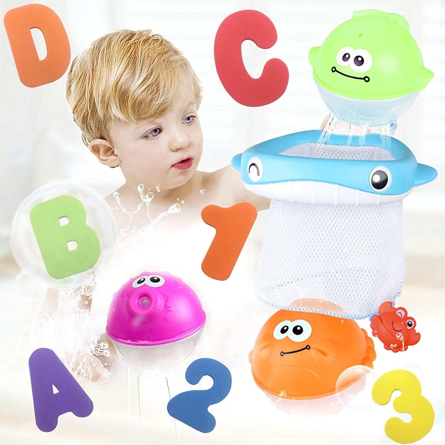 Boat Catching Game for Kids Babies Infants Toddlers 36 Bath Letters /& Numbers Floating Squirts Animal Toys Set with Fishing Net and Organizer Bag Bath Toy Sets Bathtub Time Pool Party Toys