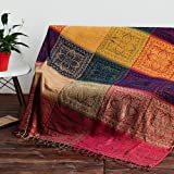AIVIA Boho Throw Blanket, Colorful Chenille Woven Bohemian Chair Recliner Furniture Cover Aztec Hippie Throws Sofa Blankets (