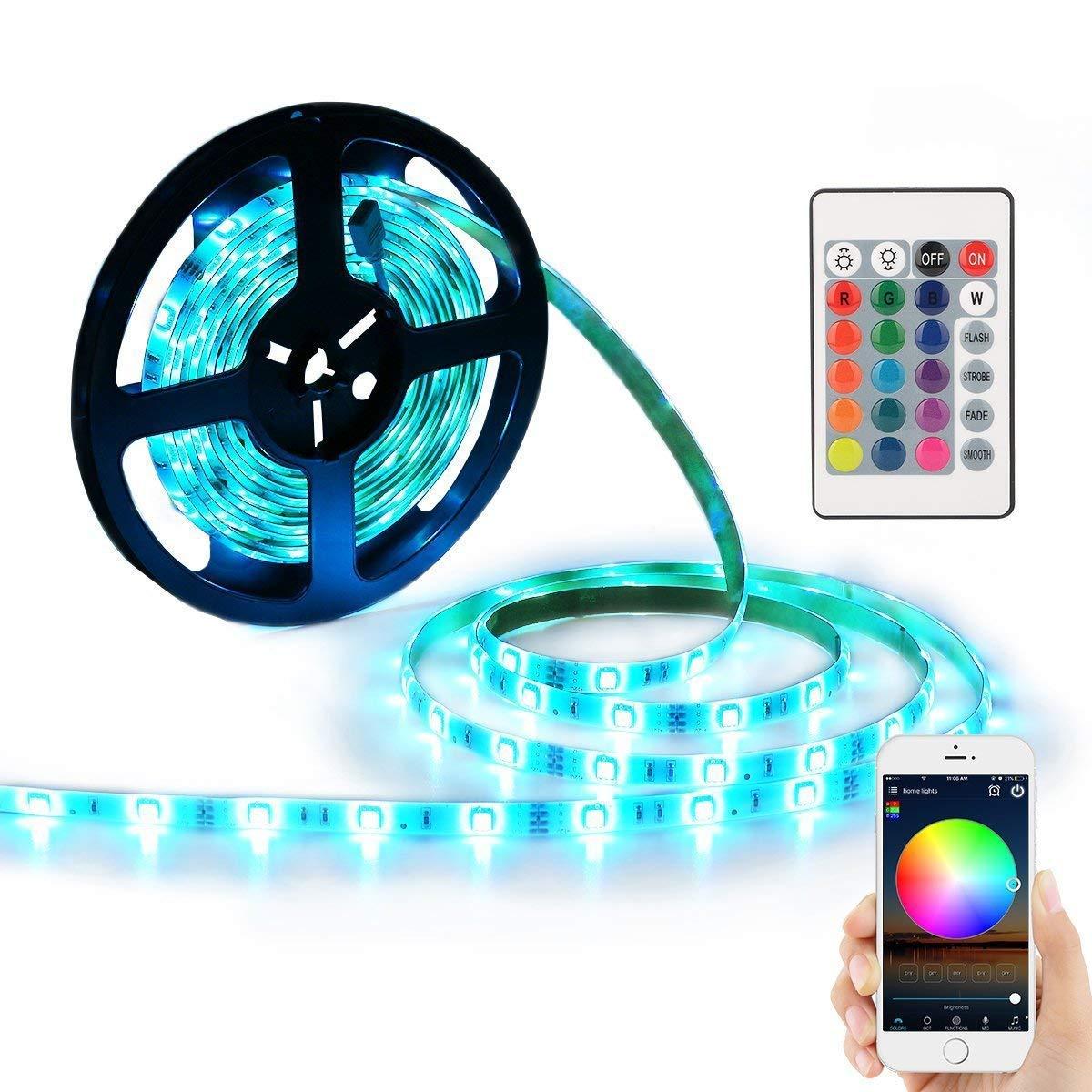 5M Waterproof IP65 Smart Home WiFi RGB LED Strip Light Lamp Kit