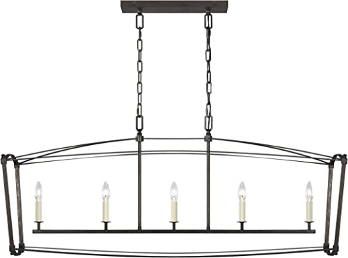 Feiss F3326 5SMS Thayer Lantern Candle Linear Chandelier, 5-Light 300 Watts 20 H x 49 L , Smith Steel