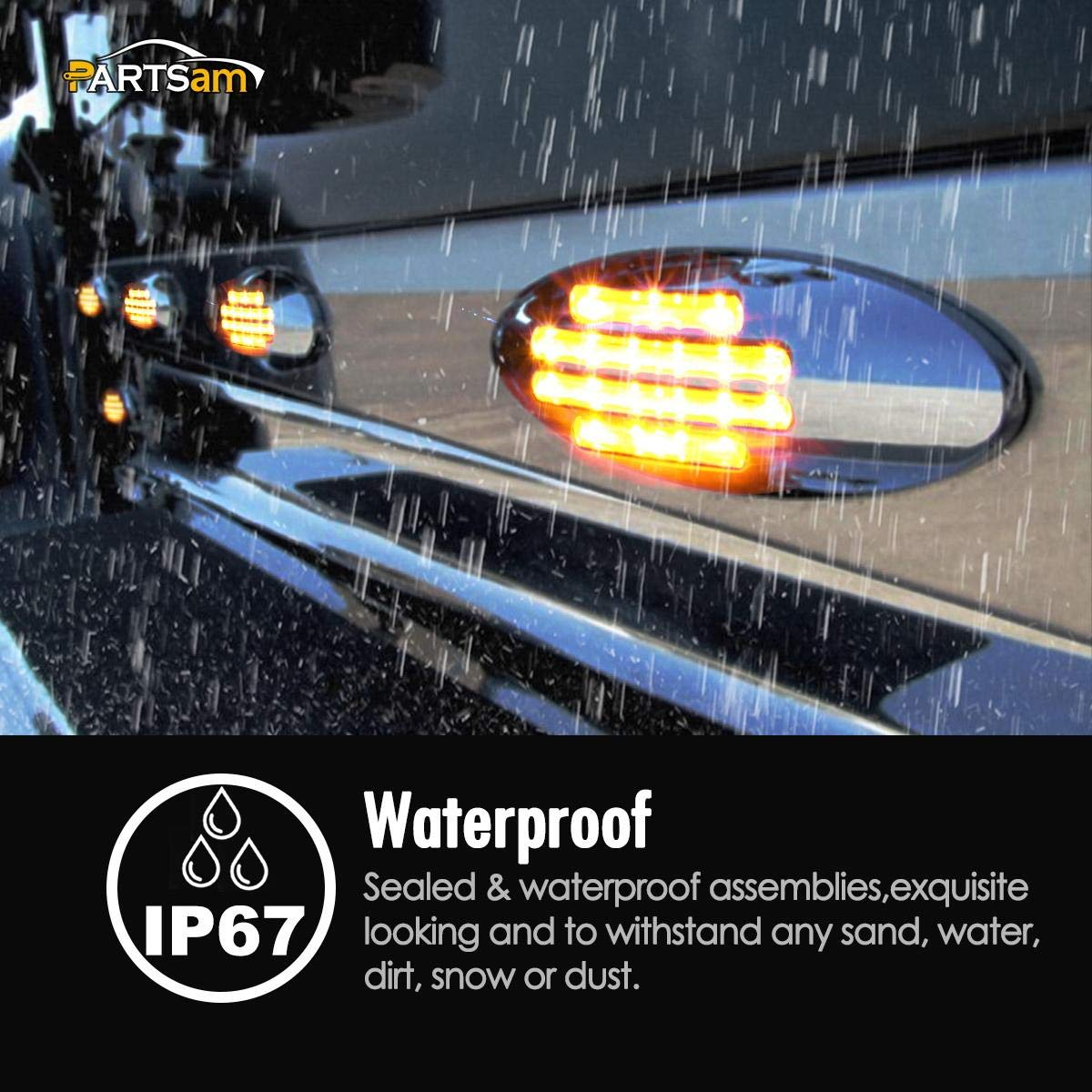 Partsam 5Pcs 6-3//5 Inch Flat-line Amber Oval Trailer Led Marker Lights Clear Lens 18 Diodes Surface Mount w Bullet Plug Connectors Sealed Waterproof Led Front Fender Marker Light Panel