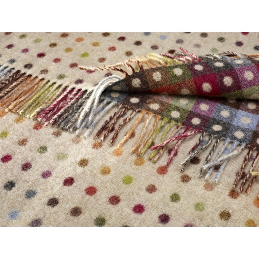 Bronte 100% Pure Lambs Wool Sofa Throw Blanket - Beige Multi Spot Check Design by Bronte Others
