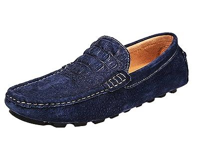 Icegrey Herren Mokassin Mit Alligator Leder Gestalt Casual Wildleder Suede  Slipper Fahren Schuhe Halbschuhe Blau 38 1a6fed3583