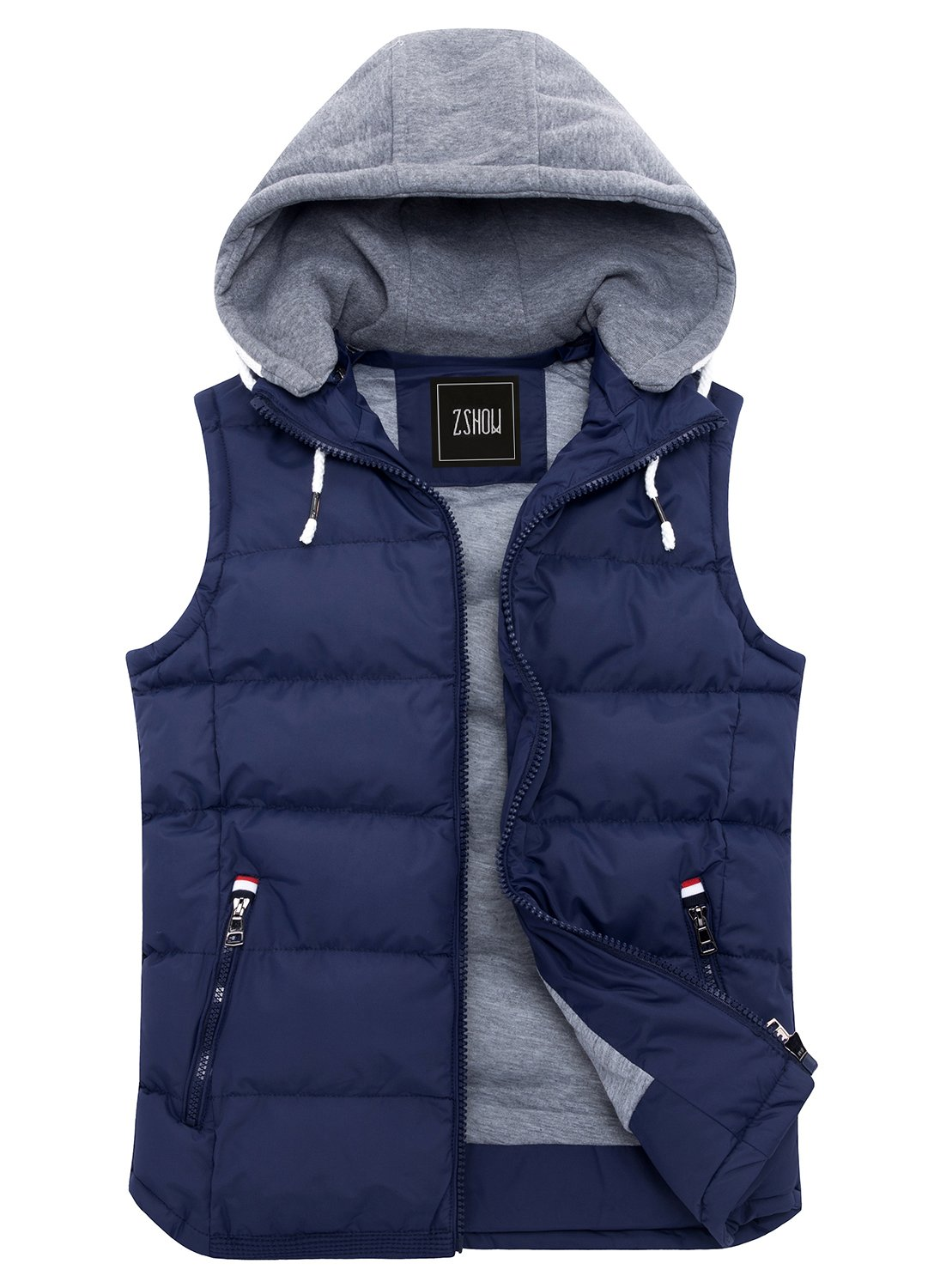 ZSHOW Men's Winter Removable Hooded Cotton-Padded Vest Outerwear Jackets(Dark Blue,X-Large)