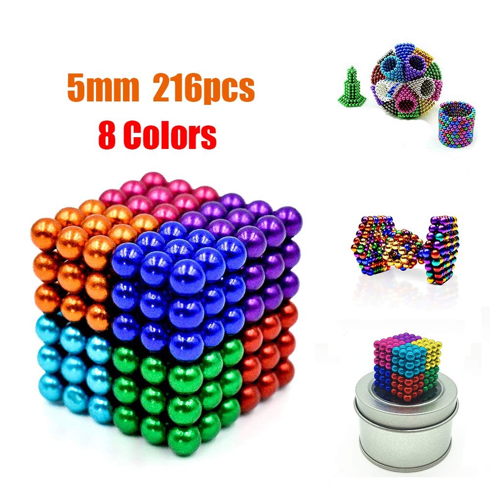 Magnetic Balls,Buckyballs 8 Colors 216 Pcs 5MM Magnets DIY Magnetic Toys Sculpture Building Magnetic Blocks Cube Gift for Intellectual Development Office Toy Stress Relief Gift for Kids and Adults by KT-GARY